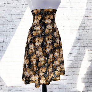 LLR Azure Swing Midi Skirt Fold Top XS Black Roses